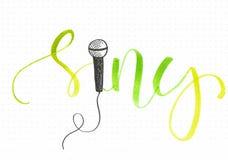 ` Zing `-hand die groen woord met een microfoonkrabbel van letters voorzien vector illustratie