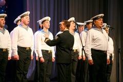 Zing van Russische militairen, koor en solisten van lied en dansensemble van het militaire district van Leningrad Stock Fotografie