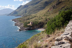 Zingaro Nature Reserve - coastline, turquoise sea, Trapani province Royalty Free Stock Images