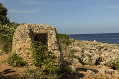 Zingaro Nature Reserve with old stone hut/house. stock photography