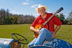 Zingende Cowboy met Copyspace Stock Foto's