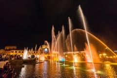 Zingende en Dansende fonteinen, het Vierkant van de Republiek, Yerevan, Armenië stock afbeelding