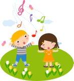 Zingende kinderen Stock Afbeeldingen