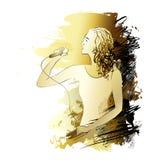 Zingende vrouw met microfoon, inkttekening Royalty-vrije Stock Afbeelding