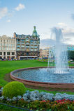 Zinger House on Nevsky Prospect in the historic center of the city and fountain on the foreground, St Petersburg, Russia Royalty Free Stock Photo