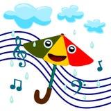 Zingt in de regen stock illustratie