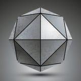 Zink geometrisch die 3d voorwerp op witte achtergrond wordt geïsoleerd, grunge Stock Afbeeldingen