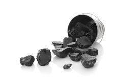 The zinked bucket with coal Royalty Free Stock Photos