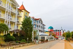 Promenade of Zinnowitz, Usedom, Germany. Zinnowitz, Germany - October 24, 2017: promenade with unidentified people. Zinnowitz is a baltic sea resort and one of a Royalty Free Stock Images