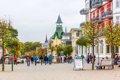 Promenade of Zinnowitz, Usedom, Germany. Zinnowitz, Germany - October 24, 2017: promenade with unidentified people. Zinnowitz is a baltic sea resort and one of a Royalty Free Stock Photos