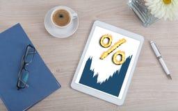Zinssatzkonzept auf einer digitalen Tablette Lizenzfreies Stockbild