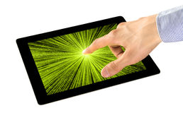 Zintuiglijke waarneming op PC van de Tablet stock foto
