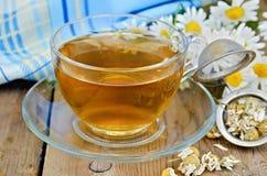 Ziołowa chamomile herbata sucha w durszlaku z szklaną filiżanką Zdjęcie Royalty Free