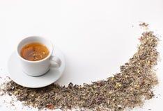 Ziołowa herbata od leczniczych ziele w filiżance na bielu Zdjęcie Stock