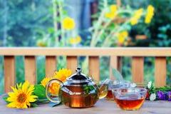 Ziołowa herbata w teapot i filiżance. Zdjęcia Royalty Free