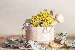 Ziołowa medycyna, homeopatia kolekcja leczniczy ziele dla herbaty i medycyny, Wysuszeni tansy kwiaty i dębów liście w a fotografia stock