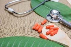 Ziołowa medycyna w czerwonych kapsułach obrazy royalty free