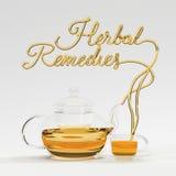 Ziołowa remedium wycena z teapot i filiżanki 3D renderingiem Obrazy Royalty Free