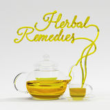 Ziołowa remedium wycena z teapot i filiżanki 3D renderingiem Zdjęcie Stock