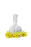 Ziołowe masaż piłki, kolor żółty i kwitną odosobnionego na bielu Zdrój a Zdjęcie Royalty Free