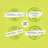 Ziołowej herbaty mieszanki wektoru znaczka Kreatywnie pojęcie Na Organicznie tle Eco insygni etykietki ilustracja Zdjęcie Royalty Free
