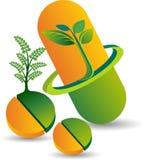 Ziołowej medycyny pastylki logo ilustracji