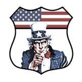 Zio Sam Shield Badge immagine stock