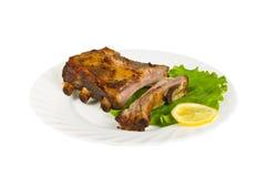 Ziobro dziki knur piec na grillu na talerzu, odosobnionym Fotografia Stock