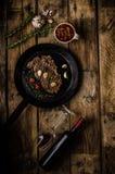 Ziobro oka stek z winem zdjęcie royalty free