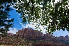 zion наблюдателя сильного взгляда неба реки национального парка горы освещения переднего плана вечера расстояния облаков виргинск Стоковые Изображения