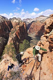 Zion Angels Landing Chain Gang Royalty Free Stock Images