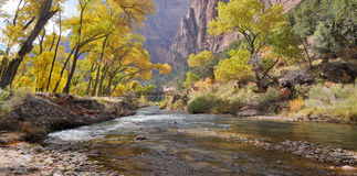 Zion in Autumn. Bridge over a river in Zion National Park Stock Image