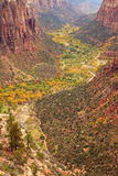 Zion Canton Aerial Vista. The inside of Zion Canyon National Park, seen from Angels Landing Royalty Free Stock Photo