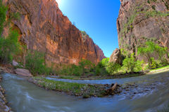 Zion Canyon. Fisheye view of Zion Canyon and the Virgin River Stock Photos