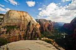 Zion Canyon come visto dagli angeli che atterrano a Zion National Park Immagini Stock Libere da Diritti