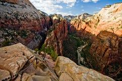 Zion Canyon comme vu des anges débarquant chez Zion National Park Image stock