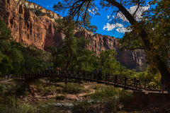 Zion Canyon`s Sandstone Cliffs. Zion Canyon is known for its petrified sand dunes, erosion-sculptured sandstone, hanging gardens and waterfalls Stock Image