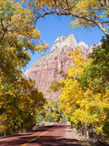 Zion Canyon Scenic Drive in Autumn Stock Image