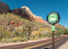 Shuttle stop, Zion National Park. Zion Canyon shuttle stop number three Royalty Free Stock Photos