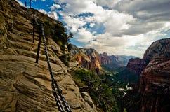 Zion Canyon som sett från änglar som landar på Zion National Park Royaltyfri Bild