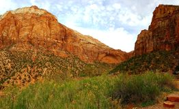 Zion Canyon, Utah. Zion Canyon against cloudy blue skies on sunny day in Utah, USA royalty free stock photos