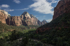 Zion Canyon. View on Zion Canyon from Emerald Pools Stock Photo