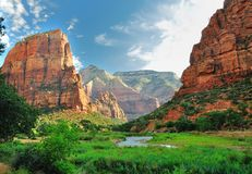 Zion Canyon, with the virgin river Stock Images