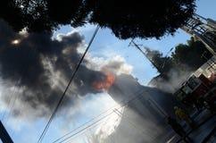 Zion Church Burns In Oakland. 97 year old Zion church burns in Oakland Royalty Free Stock Photography