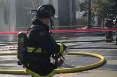 Zion Church Fire in Oakland. 97 year old Zion church burns in Oakland Stock Images