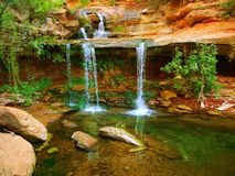Zion Double Falls. Right Fork Canyon Royalty Free Stock Image