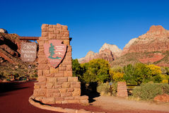 Zion Entrance. Entrance to Zion National Park on a cloudless late afternoon Royalty Free Stock Photography