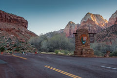 Zion Entry Before the Crowds. Springdale, United States: March 11, 2017: Zion Entry Before the Crowds Arrive for the day Stock Photography