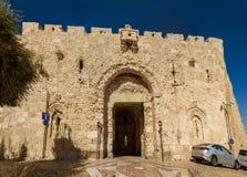 Zion Gate gammal stad av Jerusalem, Israel Arkivbild