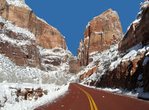 Free Zion Highway In Winter Stock Photos - 20889873